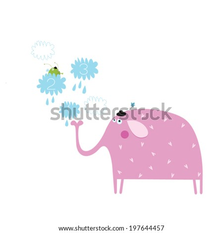 Vector illustration with elephant - stock vector