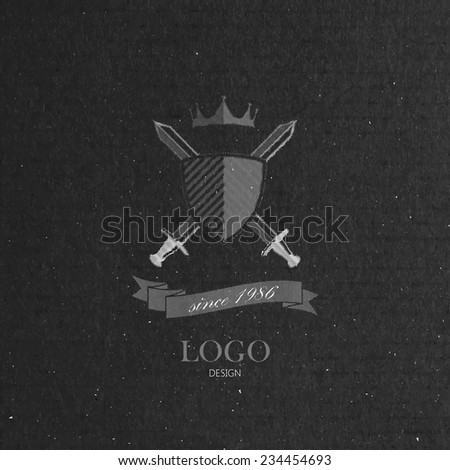 vector illustration with engraving crossing swords, shield and crown  in flat style on cardboard texture. Logo design  - stock vector
