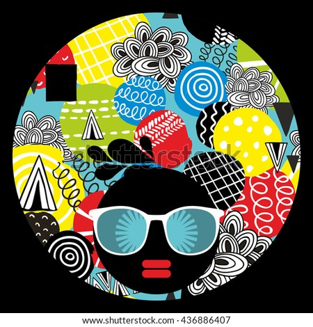 Vector illustration with female portrait. Head of beautiful afro girl in sunglasses during summer time. - stock vector