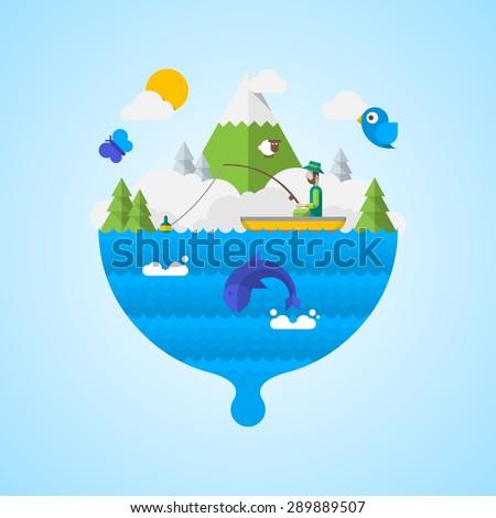 vector illustration with fisherman on a lake - stock vector