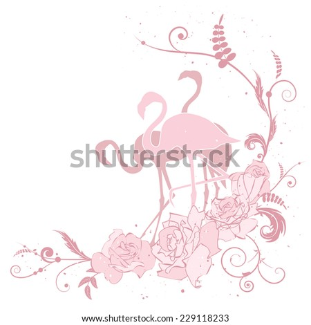 vector illustration with flamingo and roses in pink colors - stock vector