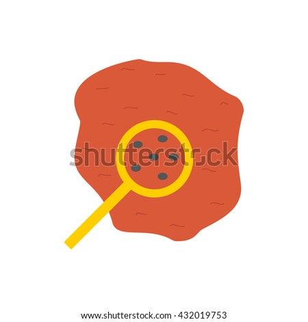 Vector illustration with flat drop of blood with magnifier. Red flat vector icon on white background. Medical exams, tests, science biology research. Microscopic organisms in blood concept - stock vector