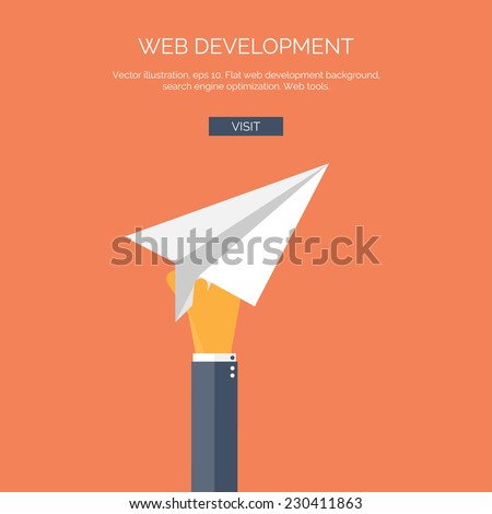 Vector illustration with flat hand and paper airplane. Web development concept background. - stock vector