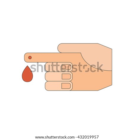 Vector illustration with flat human hand with drop of blood. Medical exams. Blood check. Glucose, diabetes, insulin test. Analysis and laboratory measurement vector concept. Flat icon or medical logo - stock vector