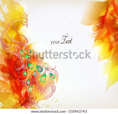 Vector illustration with floral design elements ,blots and peacock - stock vector