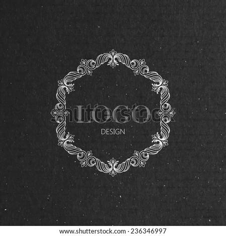 vector illustration with floral frame on cardboard texture. graceful line art logo design element - stock vector