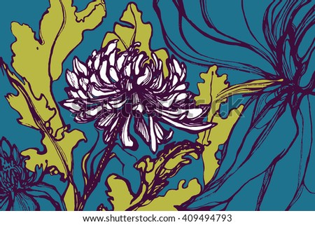 Vector illustration with flowers. Chrysanthemum, orchid, lily. Blooming garden. Collection. The Arts. Hand drawn. - stock vector
