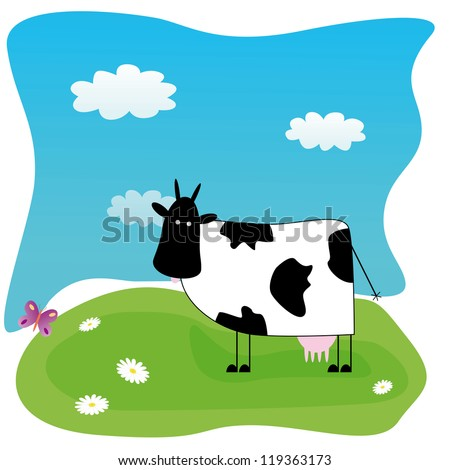 Vector illustration with funny cow on the meadow - stock vector