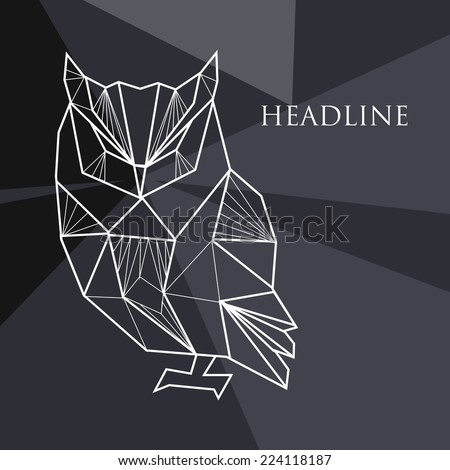 Vector illustration with geometric background and doodle owl - stock vector