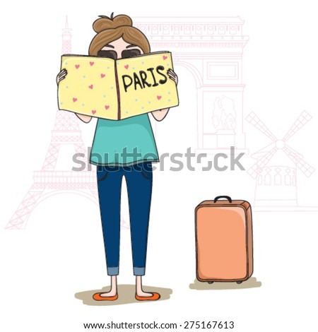 Vector illustration with girl in Paris - stock vector