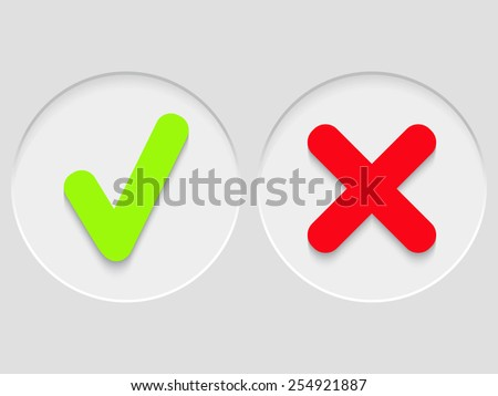 Vector illustration with green and red check marks - stock vector