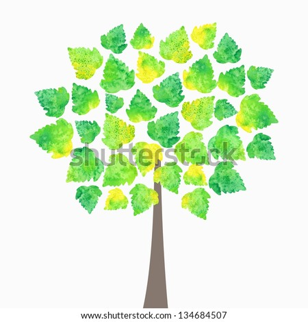 Vector illustration with green tree. Watercolor nature background. Eco design. - stock vector