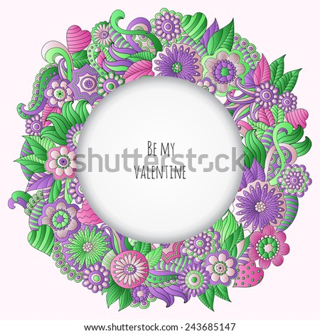 Vector illustration with hand drawn colorful plants and flowers, pattern can be used as wallpaper, stylish gift card - stock vector