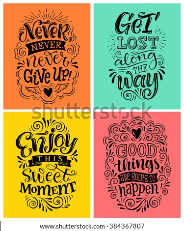 Vector illustration with hand-drawn lettering. Set of inscriptions for invitation and greeting card, prints and posters. Calligraphic design - stock vector