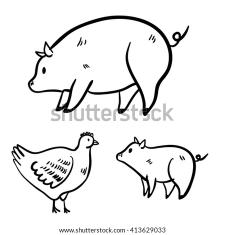 Vector illustration with hen and pigs. Cute vector handy drawn doodle pig, hen. Cartoon cute hen and pig. - stock vector