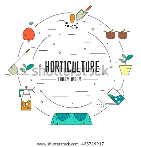 Vector illustration with horticulture elements. Modern line style. - stock vector