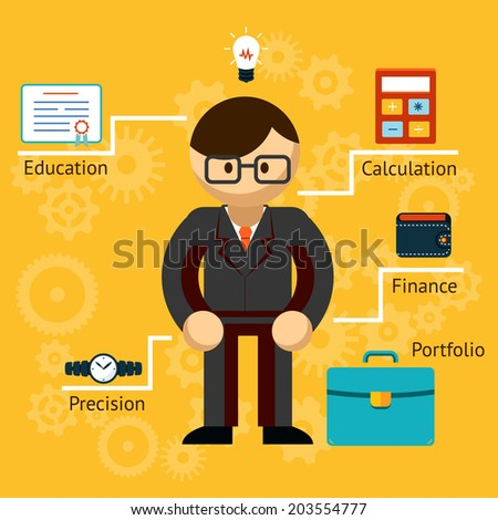 Vector illustration with information on a businessman in a suit with a briefcase and lightbulb showing his Education  Calculation  Finance  Portfolio and Precision - stock vector