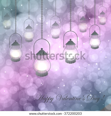 Vector  illustration with lamps on a pink  purple background with bokeh and light. Happy Valentines Day Card Design. 14 February. Postcard Valentine's Day. - stock vector