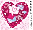 Vector illustration with love letters and hearts - stock vector