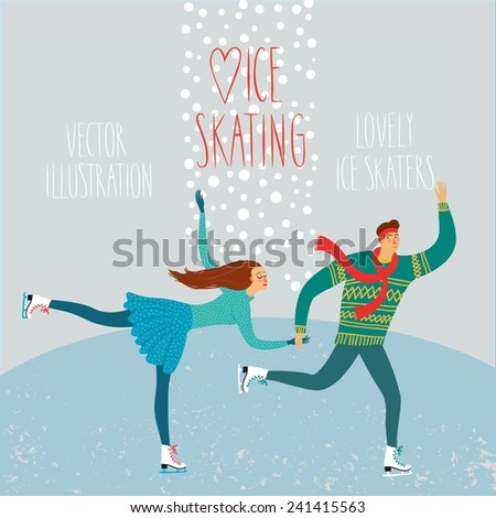 Vector illustration with lovely cartoon ice skater pair on ice rink with snowflake background - stock vector