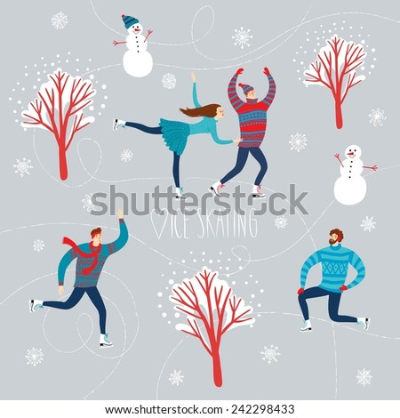 Vector illustration with lovely cartoon ice skaters on  ice rink with snowflake background, snowman and trees - stock vector