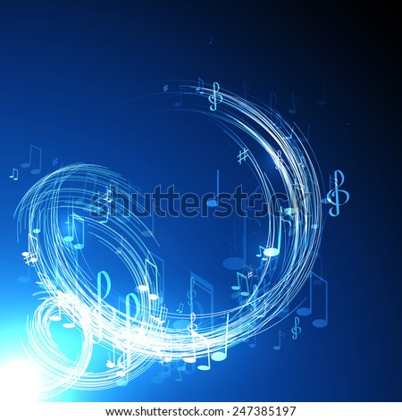 vector  illustration with neon line  abstract  music background - stock vector