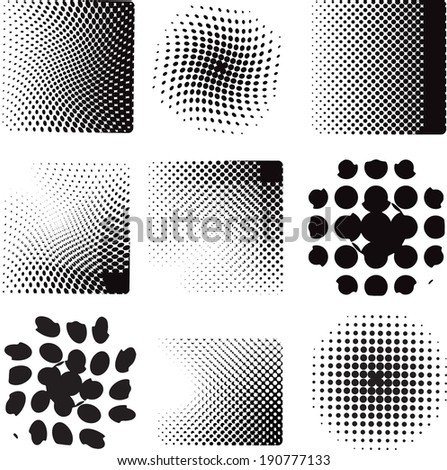 Vector illustration with nine different halftone patterns   - stock vector
