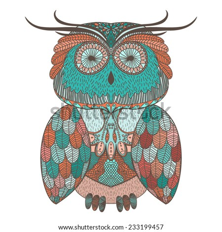 Vector illustration with ornamental owl - stock vector