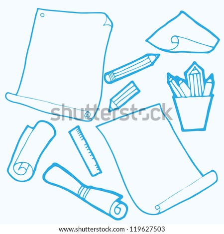 Vector illustration with papers and pans - stock vector