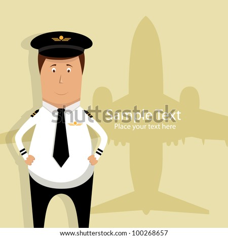 Vector illustration with pilot and airplane silhouette - stock vector
