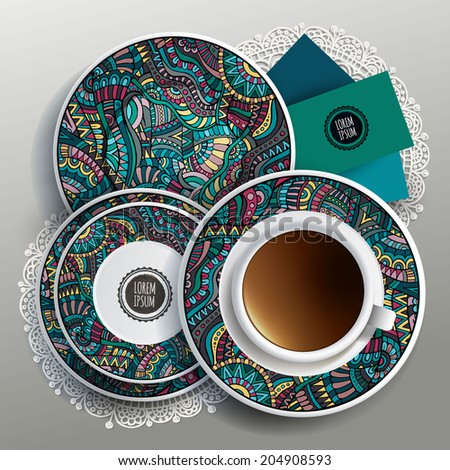 Vector illustration with plates and cup of coffee with ethnic ornaments - stock vector