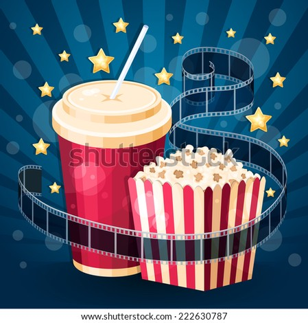 Vector illustration with popcorn box, soda, film strip and stars on the blue stripy background - stock vector