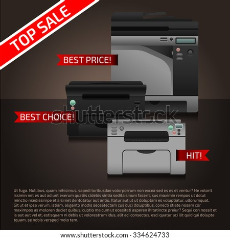 Vector illustration with printers on dark brown background. Advertise template with sample text and printer. Print equipment top sale page. Banner design.  - stock vector