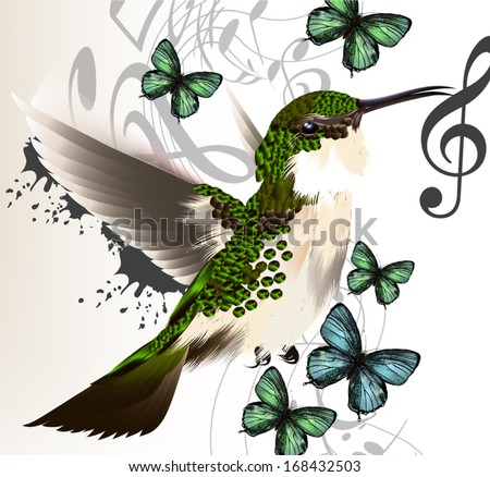 Vector illustration with realistic humming bird  and notes for desig - stock vector