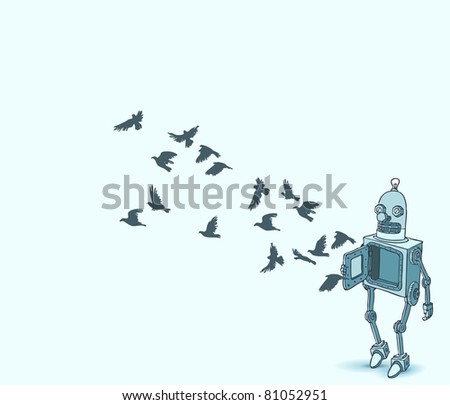 vector illustration with retro robot and birds - stock vector
