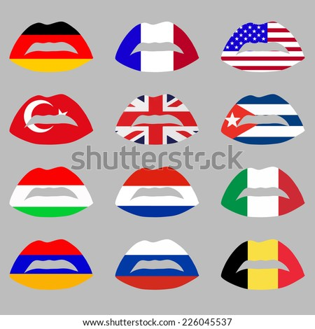 vector illustration with set of flags and lips on grey background - stock vector