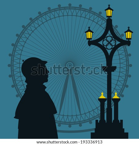 Vector illustration with Sherlock Holmes silhouette - stock vector