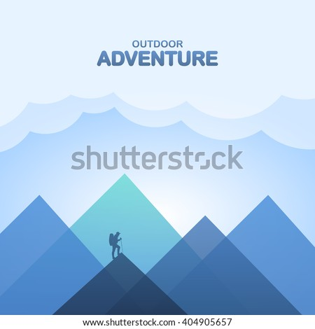 Vector illustration with silhouette of a climber and mountain - stock vector