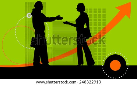 Vector illustration with silhouettes of people on green background. - stock vector