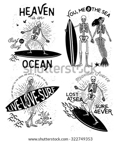 Vector illustration with Skeleton Surfer and Mermaid - stock vector