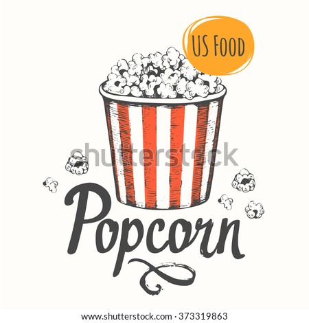 Vector illustration with sketch popcorn bucket. Sketch design. Cinema snack. Hand drawn fast food. - stock vector