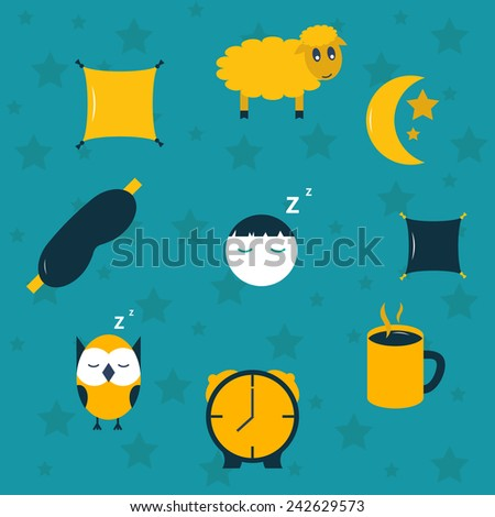 Vector illustration with sleep icons for your design - stock vector