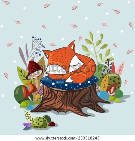 Vector illustration with  slipping baby fox,leaves, branches, mushrooms and stub. Lovely cute children illustration. Kids illustration. - stock vector