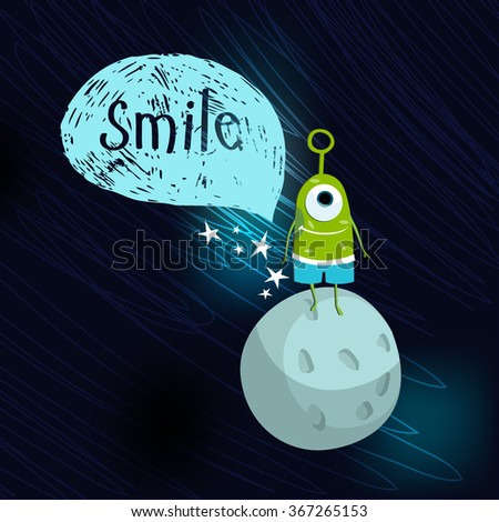 Vector illustration with space monsters - stock vector
