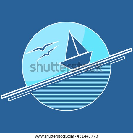 Vector illustration with stylized ship sailing through the waves and flying seagulls inside of circle. - stock vector