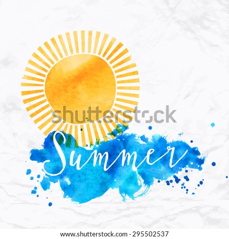 Vector illustration with sun symbol and waves of water or cloud hand drawn with watercolor. Design template of a card in artistic style with text and letters for summer sale in bright colors - stock vector