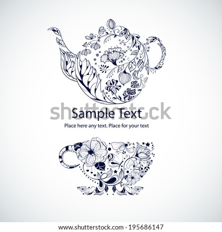 Vector illustration with tea pot and cup - stock vector
