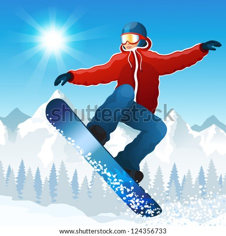 Vector illustration with the young snowboarder against mountains - stock vector