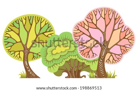 Vector illustration with three fairy trees - stock vector