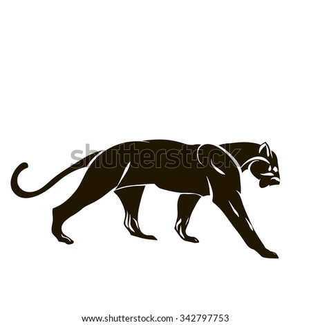 Vector illustration with tiger silhouette isolated on white background - stock vector